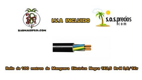 Manguera eléctrica negra 1X2,5 RV-k 06/1KV