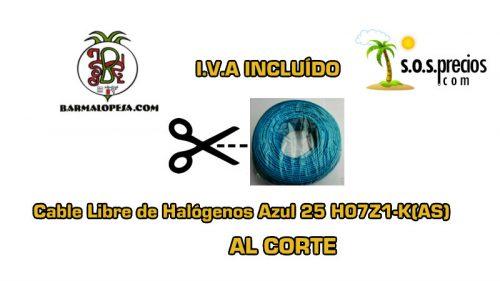 Cable Libre de Halógenos al corte azul 25 H07Z1-K(AS)
