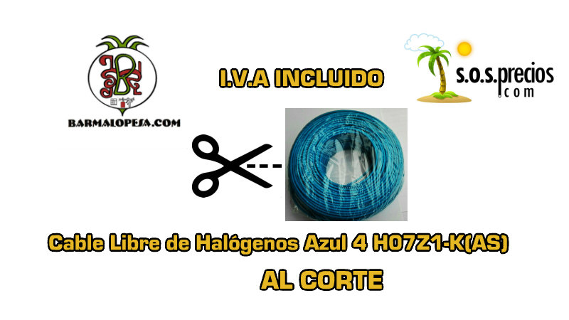Cable Libre de Halógenos al corte azul 4 H07Z1-K(AS)
