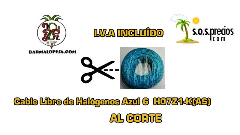 Cable Libre de Halógenos al corte azul 6 H07Z1-K(AS)
