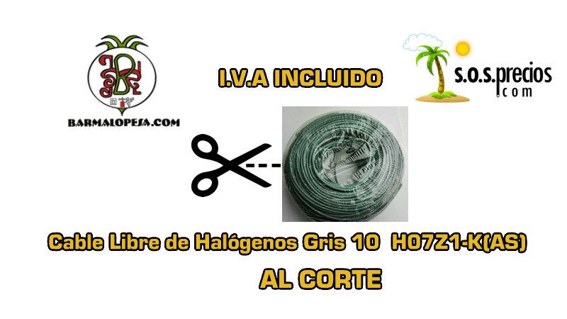 Cable Libre de Halógenos al corte gris 10 H07Z1-K(AS)