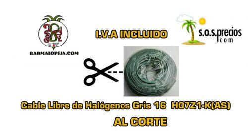 Cable Libre de Halógenos al corte gris 16 H07Z1-K(AS)