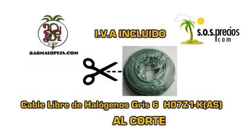 Cable Libre de Halógenos al corte gris 6 H07Z1-K(AS)