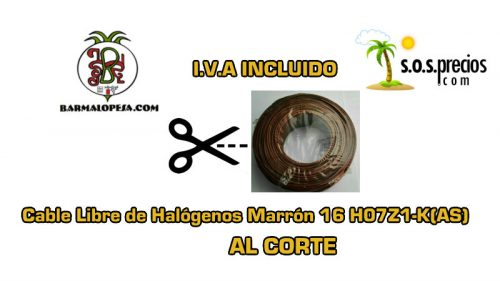 Cable Libre de Halógenos al corte marrón 16 H07Z1-K(AS)