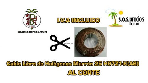 Cable Libre de Halógenos al corte marrón 25 H07Z1-K(AS)