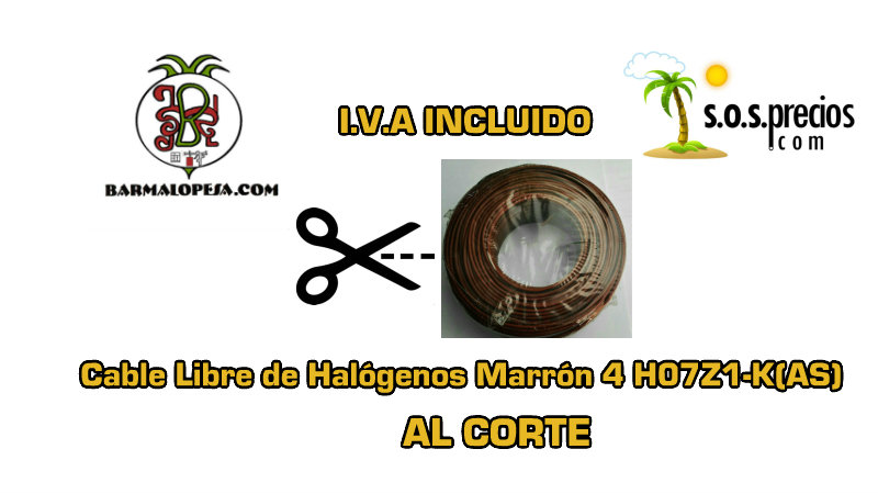 Cable Libre de Halógenos al corte marrón 4 H07Z1-K(AS)