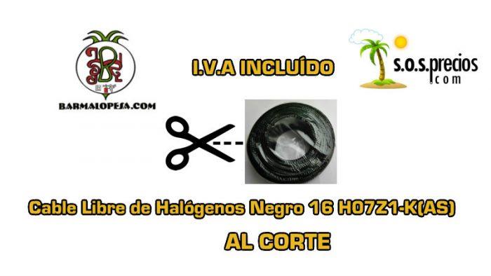Cable Libre de Halógenos al corte negro 16 H07Z1-K(AS)