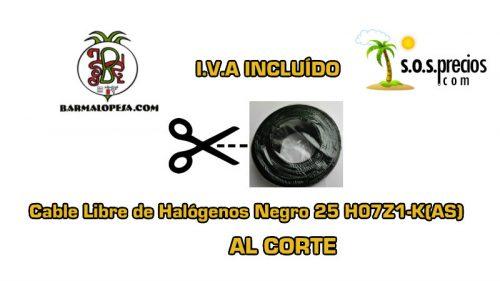 Cable Libre de Halógenos al corte negro 25 H07Z1-K(AS)