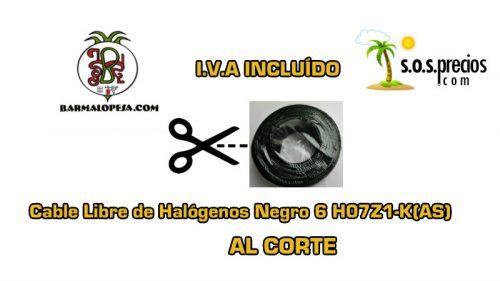 Cable Libre de Halógenos al corte negro 6 H07Z1-K(AS)