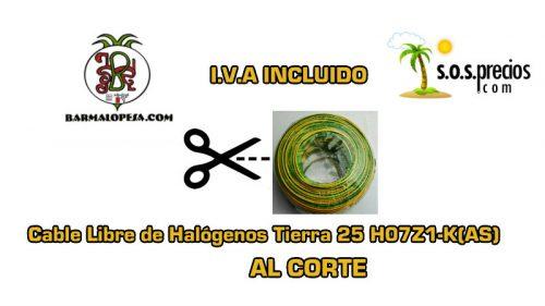 Cable Libre de Halógenos al corte tierra 25 H07Z1-K(AS)