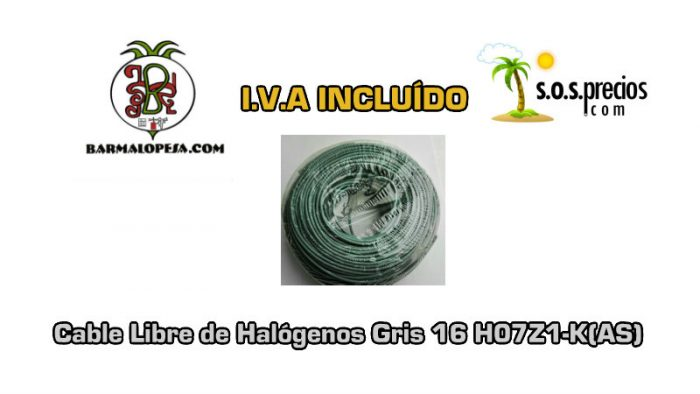 Cable Libre de Halógenos gris 16 H07Z1-K(AS)