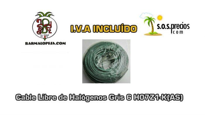 Cable Libre de Halógenos gris 6 H07Z1-K(AS)