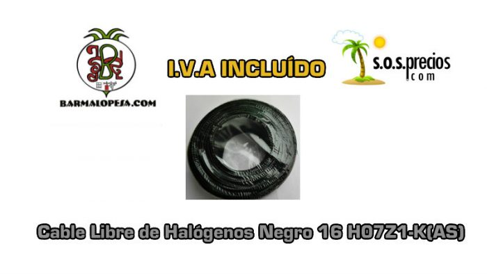 Cable Libre de Halógenos negro 16 H07Z1-K(AS)