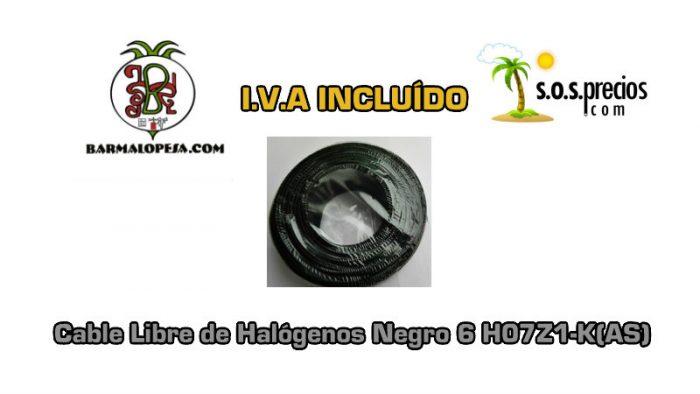 Cable Libre de Halógenos negro 6 H07Z1-K(AS)