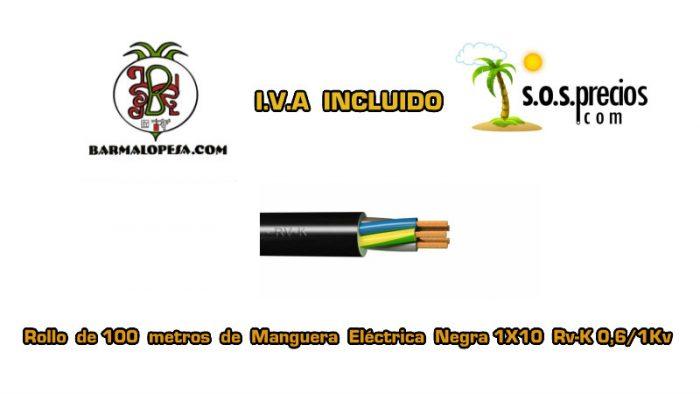 Manguera eléctrica negra 1X10 RV-k 06/1KV