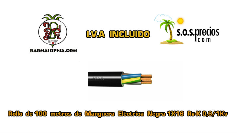 Manguera eléctrica negra 1X16 RV-k 06/1KV