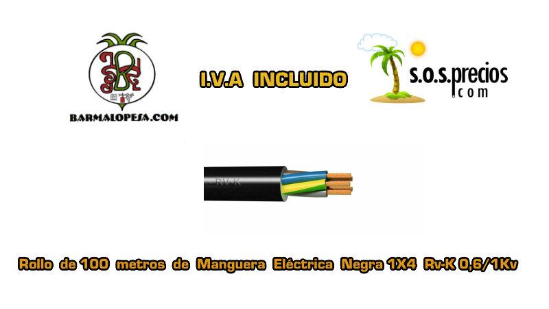 Manguera eléctrica negra 1X4 RV-k 06/1KV