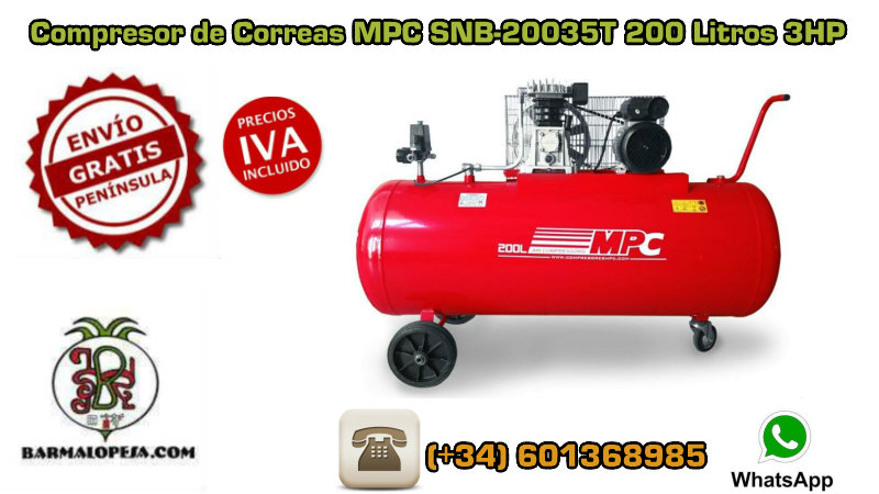 Compresor de Correas MPC SNB-20035T 200 Litros 3HP