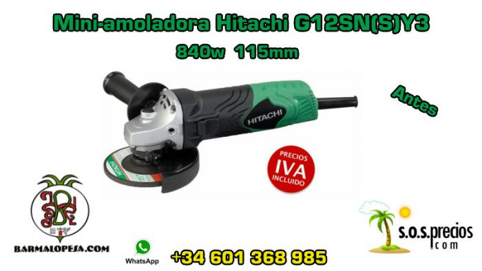 Mini-amoladora Hitachi G12SN(S)Y3 840w 115mm