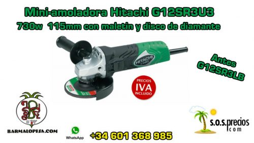 Mini-amoladora Hitachi G12SR3U3 730w 115mm con maletín y disco de diamante