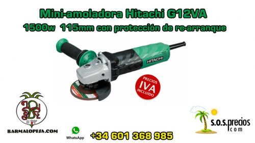 Mini-amoladora Hitachi G12VA 1500w 115mm con protección de re-arranque