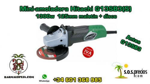 Mini-amoladora Hitachi G13SB3(S) 1300w 125mm maletín+disco