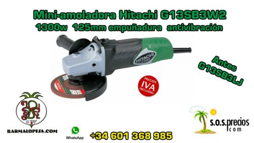 Mini-amoladora Hitachi G13SB3W2 1300w 125mm emp.antiv