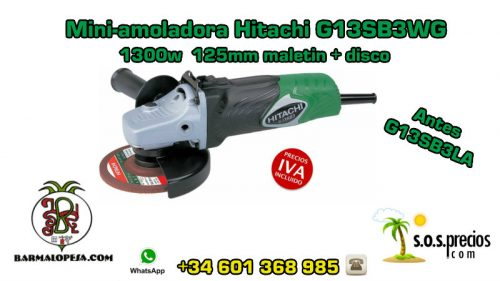 Mini-amoladora Hitachi G13SB3WG 1300w 125mm maletín+disco