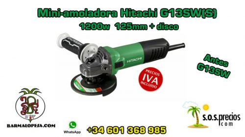 Mini-amoladora Hitachi G13SW(S) 1200w 125mm + disco