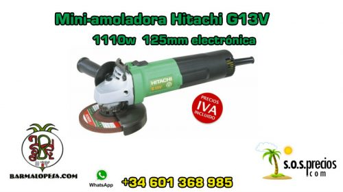 Mini-amoladora Hitachi G13V 1110w 125mm electrónica