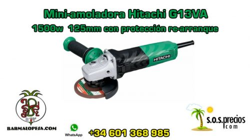 Mini-amoladora Hitachi G13VA 1500w 125mm con protección de re-arranque