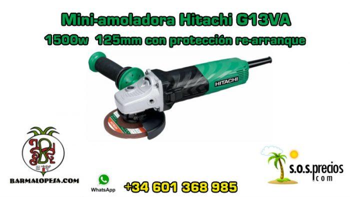 Mini-amoladora Hitachi G13VA 1500w 125mm con protección de re-arranque