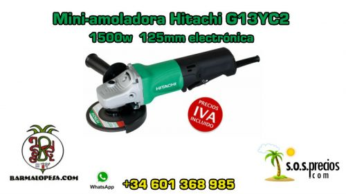 Mini-amoladora Hitachi G13YC2 1500w 125mm electrónica