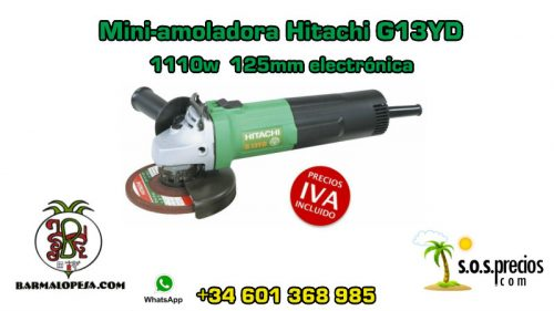 Mini-amoladora Hitachi G13YD 1110w 125mm electrónica
