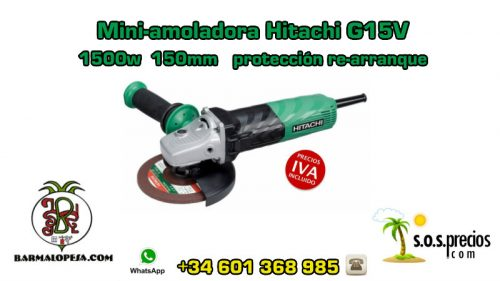 Mini-amoladora Hitachi G15VA 1500w 150mm protección re-arranque