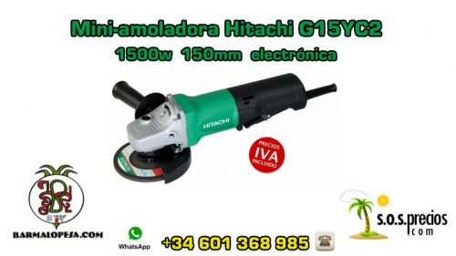 Mini-amoladora Hitachi G15YC2 1500w 150mm electrónica