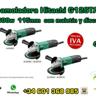Mini-amoladora Hitachi G12STAY3 600w 115mm con maletín y disco