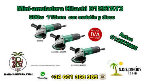 Mini-amoladora Hitachi G12STAY3 600w 115mm con maletín y disco