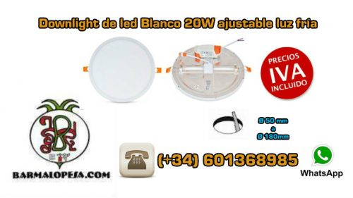 downlight-de-led-Blanco-20W-ajustable-luz-fría-por-detrás